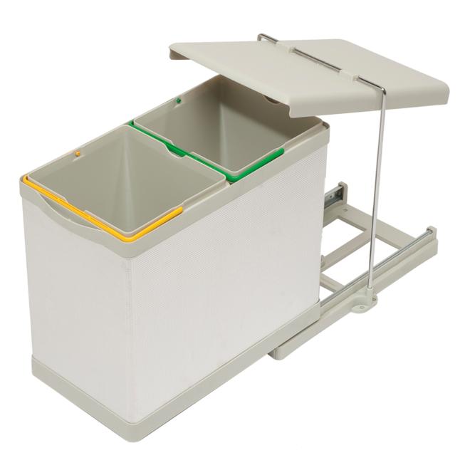 Stockholm 2-28 - Affaldssystem i rustfri stål og sandfarvet plast på 2 x 14 liter