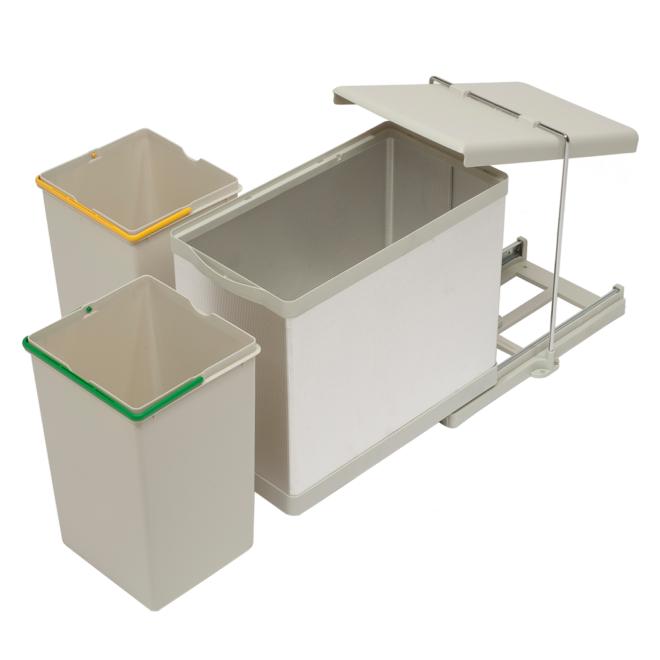 Stockholm 2-28 • Affaldssystem i rustfri stål og sandfarvet plast på 2 x 14 liter