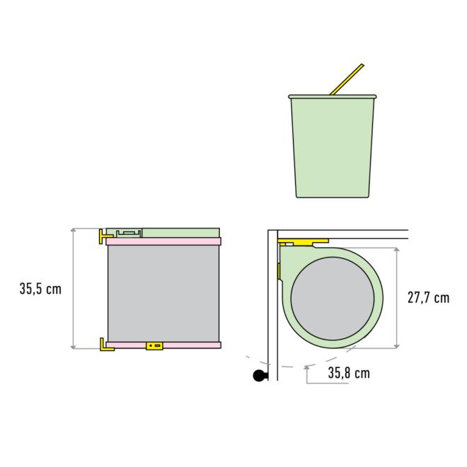 Oslo 1-13 • Affaldssystem i rustfri stål og plast på 1 x 13 liter