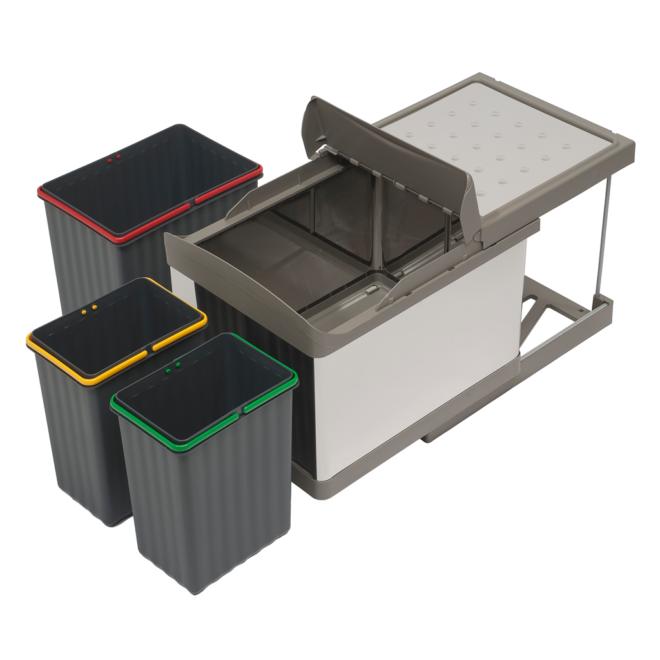 Stockholm 3-31 • Affaldssystem i rustfri stål på 1 x 16 liter + 2 x 7,5 liter