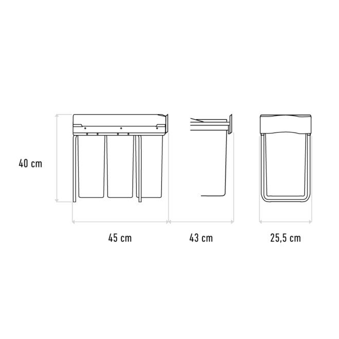 Produkttegning af Affaldssystem til køkkenet med tre sorteringsspande