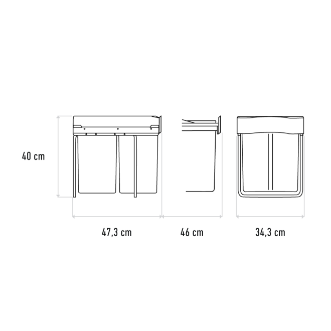 Copenhagen 2-42 • Affaldssystem i stål og plastik på 2 x 21 liter