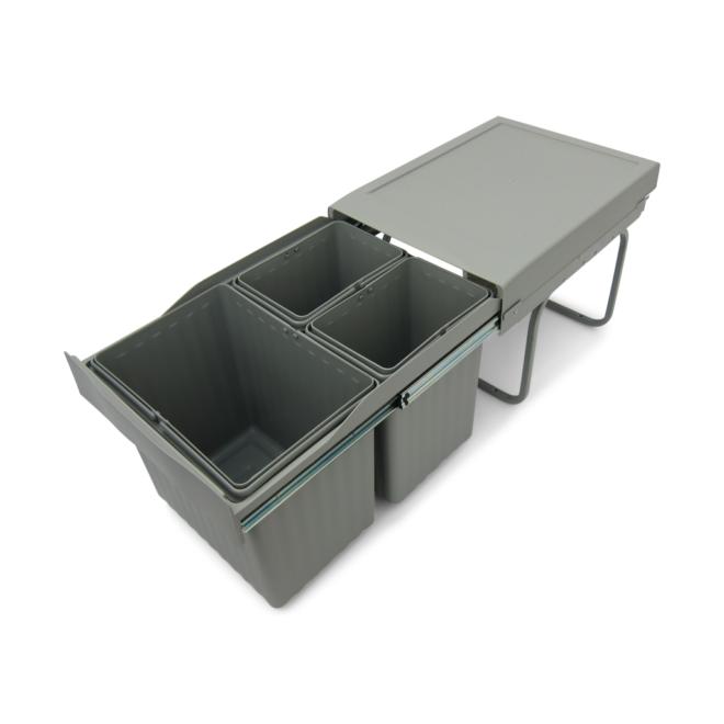 Copenhagen 3-31 X - Affaldssystem i stål og plastik på 1 x 16 liter + 2 x 7,5 liter