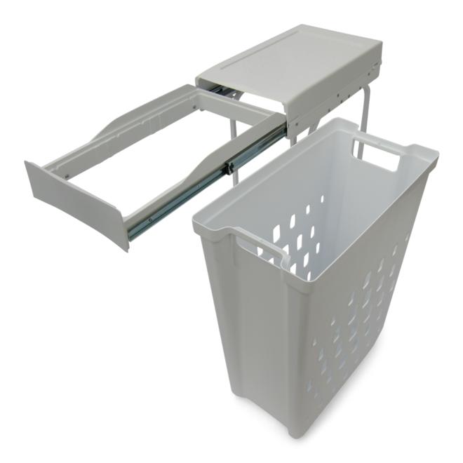 Helsinki 1-40 • Vasketøjskurv i stål og hvid plastik på 1 x 40 liter