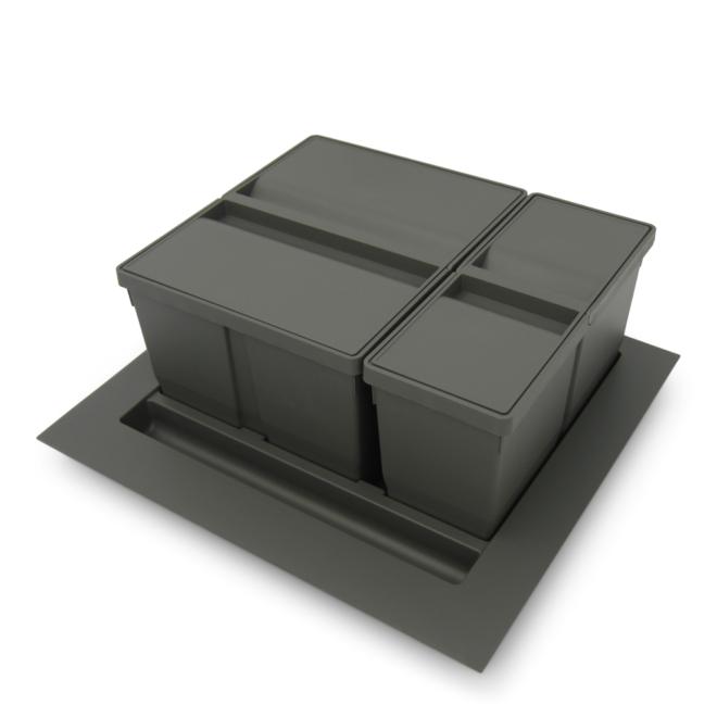 Bornholm 2-29 - Affaldssystem til skuffe i mørkegrå plastik på 1 x 9 liter + 1 x 20 liter