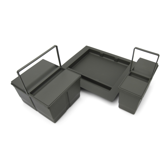 Bornholm 2-29 • Affaldssystem til skuffe i mørkegrå plastik på 1 x 9 liter + 1 x 20 liter