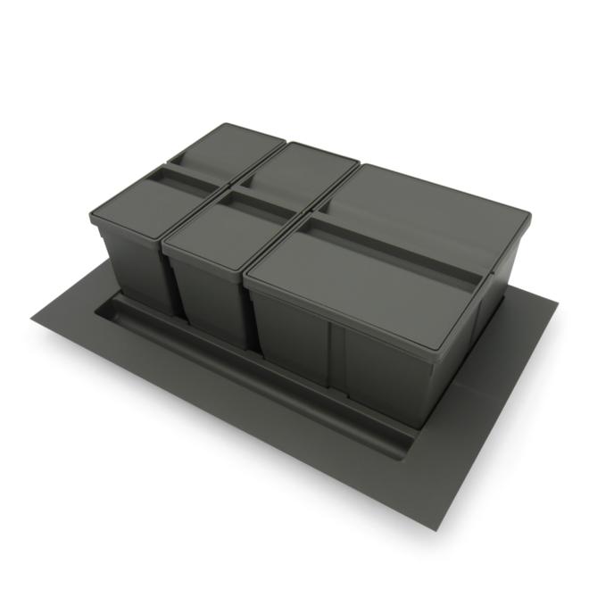 Bornholm 3-38 - Affaldssystem til skuffe i mørkegrå plastik på 2 x 9 liter + 1 x 20 liter