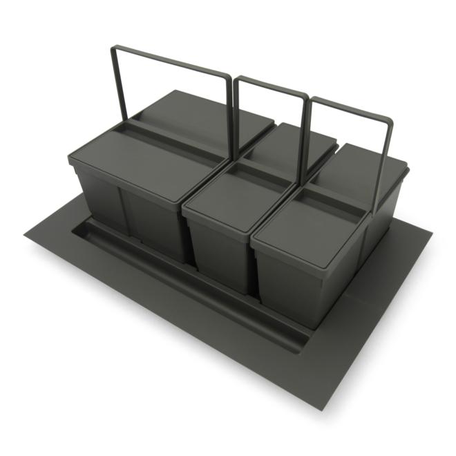Bornholm 3-38 • Affaldssystem til skuffe i mørkegrå plastik på 2 x 9 liter + 1 x 20 liter