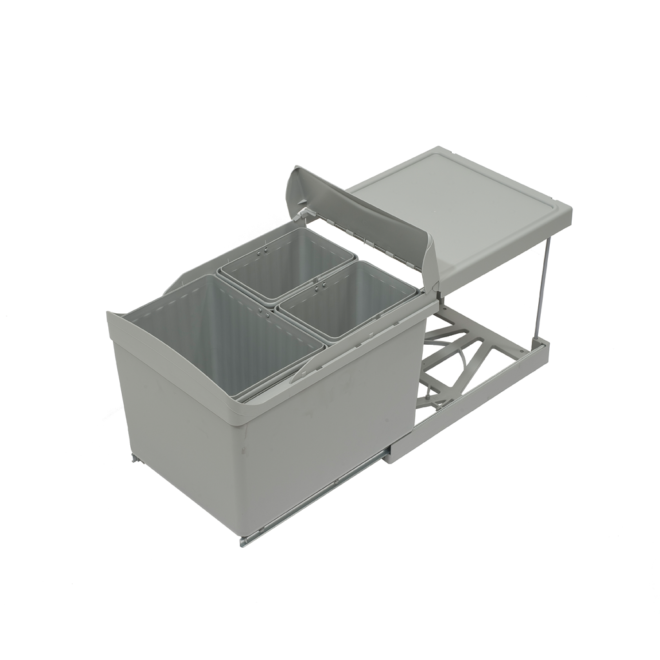 Copenhagen 3-31 - Affaldssystem i stål og plastik på 1 x 16 liter + 2 x 7,5 liter