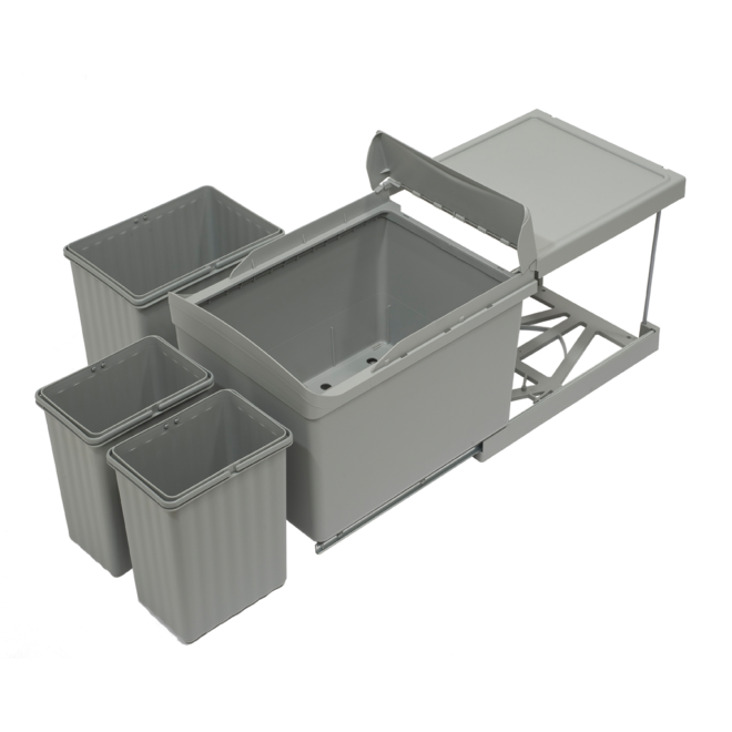 Copenhagen 3-31 • Affaldssystem i stål og plastik på 1 x 16 liter + 2 x 7,5 liter