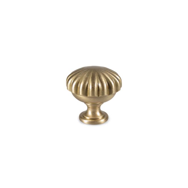 Stenbjerg - Italiensk antik knop med blomst design i børstet messing