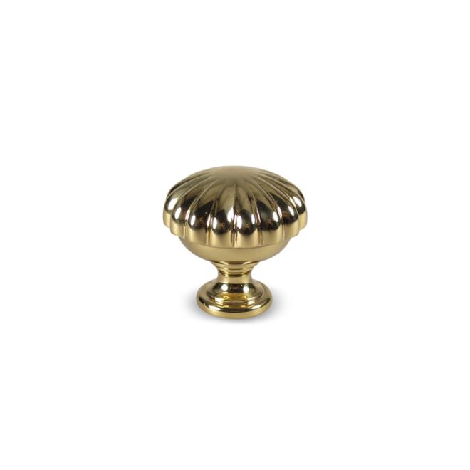 Stenbjerg - Italiensk antik knop med blomst design i blank messing