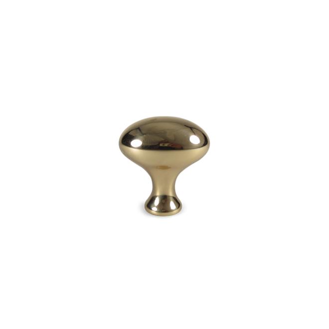 Hellerup - Oval knop i blankpoleret messing