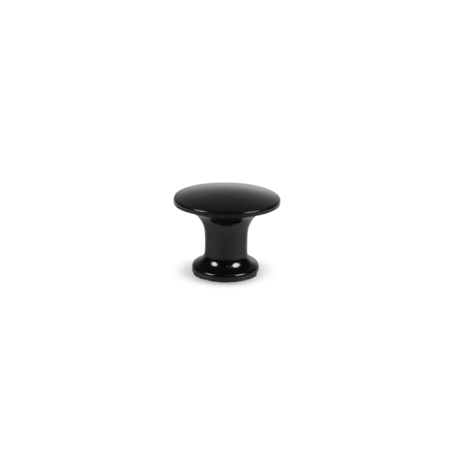Kibæk - Knop i sort Bakelit med træskrue i elforzinket stål