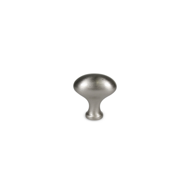 Hellerup - Oval knop i rustfri stål look