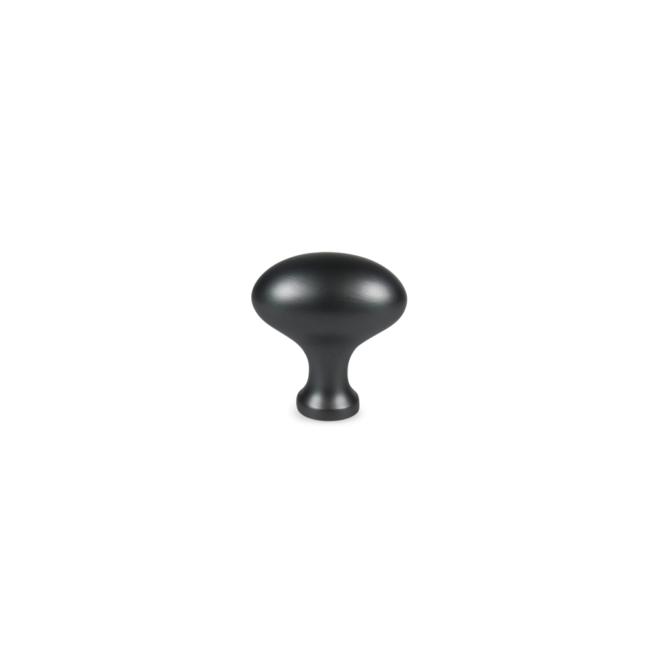 Hellerup - Oval knop i antik sort messing