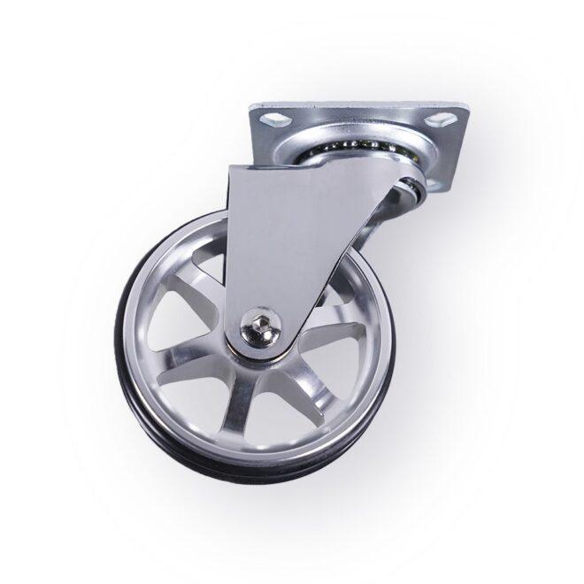 Berlin - eksklusivt møbelhjul i blank aluminium Ø75 mm. uden bremse