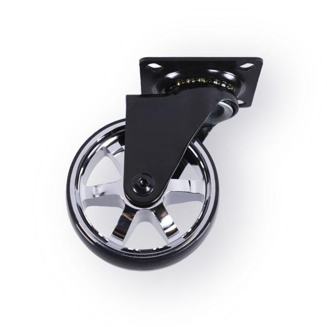 Berlin - eksklusivt møbelhjul i blank aluminium og sort i Ø75 mm. uden bremse