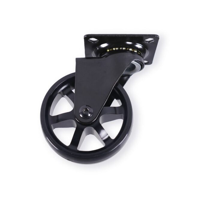 Berlin - eksklusivt møbelhjul i sort eloxeret aluminium Ø75 mm. uden bremse