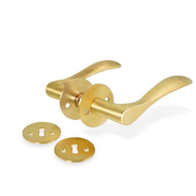 Dørgreb: Bellevue dørhåndtag i børstet messing inkl. roset og nøgleskilt c/c 30 mm