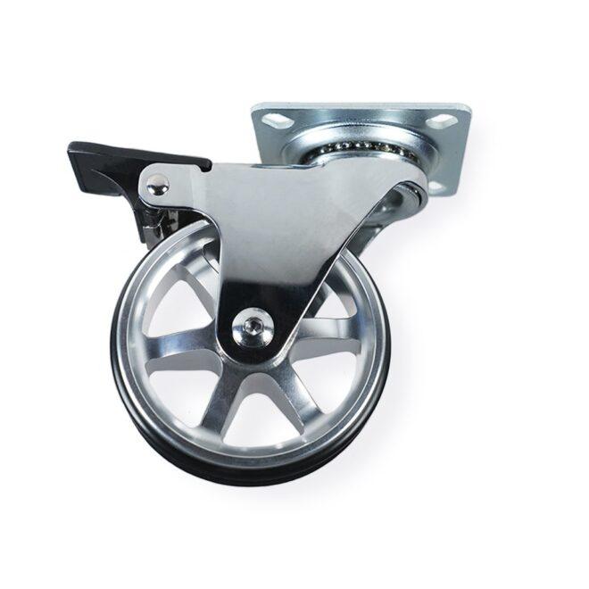 Møbelhjul: Berlin - eksklusivt møbelhjul i blank aluminium Ø75 mm. med bremse