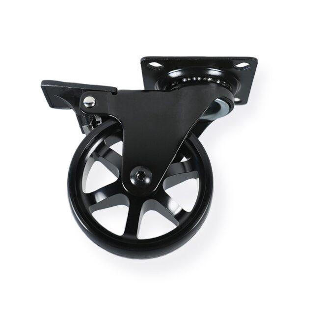 Møbelhjul: Berlin - eksklusivt møbelhjul i sort eloxeret aluminium Ø75 mm. med bremse