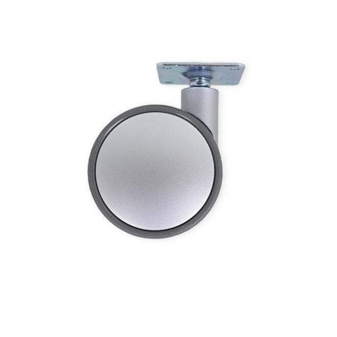 Møbelhjul i hård grå plast uden bremse og en monteringsplade i el-forzinket stål. Bæreevnen er på 50 kg. pr. hjul og kan bl.a. anvendes under møbler i stuen eller elementer i et bryggers